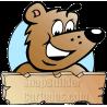 Brown Bear Holding Wood Plank Board