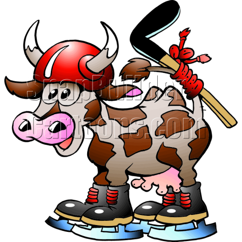 Cow Hockey Player