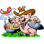 Pig Cooking at BBQ Grill
