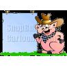 Pig Cowboy Holding Sign