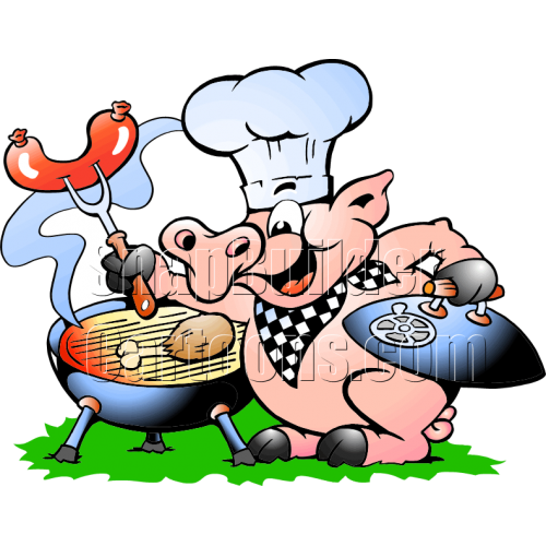 Chef Pig BBQ Grill Cooking Hotdogs & Chicken