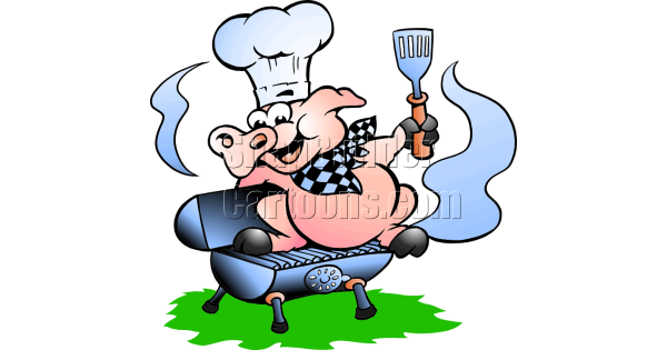 Chef Pig Sitting On Bbq Grill