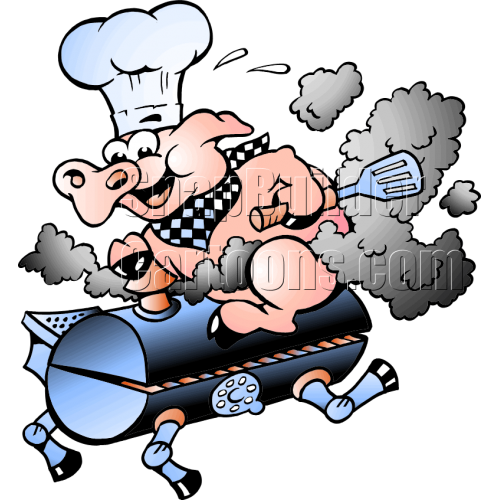 Chef Pig Sitting on Smoking BBQ Grill