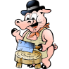Pig Butcher with Butcher Block
