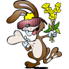 Rabbit Holding Heart and Flowers