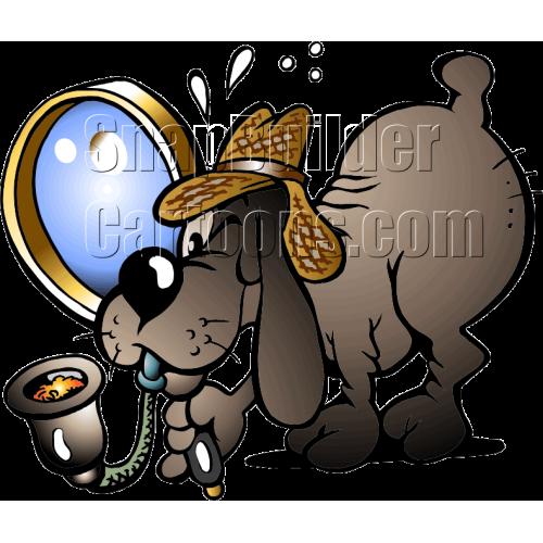 Sherlock Dog Holding Magnifier Glass