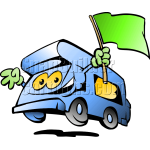 Auto Camper Holding Green Flag