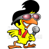 Chicken with Sunglasses Holding Microphone
