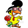 Chicken with Sunglasses Holding Rose Flower