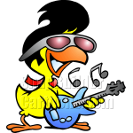 Chicken with Sunglasses Playing Guitar
