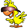 Chicken with Sunglasses Pointing Left
