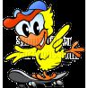 Chicken on Skate Board