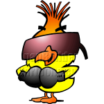 Chicken Wearing Sunglasses and Boxing Gloves