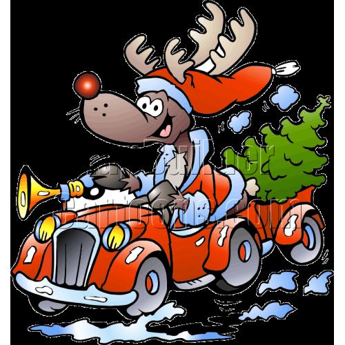 Christmas Reindeer Driving Car
