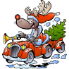 Christmas Reindeer Driving Car