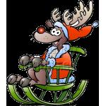 Christmas Reindeer in Green Rocking Chair