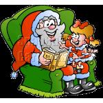Christmas Santa with Little Girl
