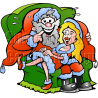Christmas Santa with Winking Woman on Lap
