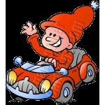 Christmas Elf Driving Automobile