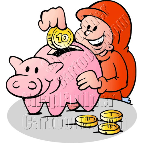 Christmas Elf Dropping Coin in Piggy Bank