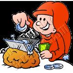 Christmas Elf Saving Money