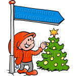 Christmas Elf Under Sign Post with Tree