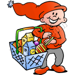 Christmas Elf Food Shopping with Hand Basket