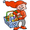 Christmas Elf Food Shopping with Hand Basket