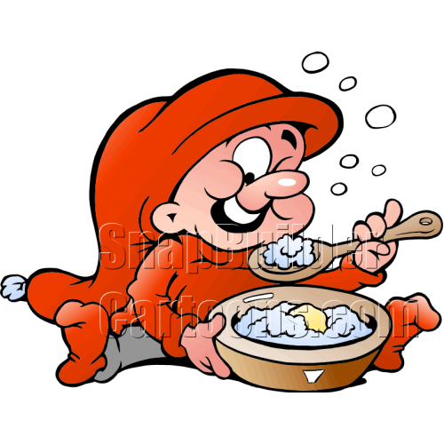 Christmas Elf Eating Bowl Potatoes