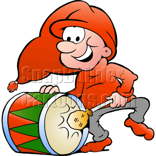 Christmas Elf Playing Drum