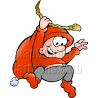 Christmas Elf Swinging on Gold Rope