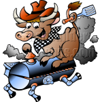 BBQ Grill Cow Holding a Spatula