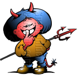 Devil Boy with Horns and Fork