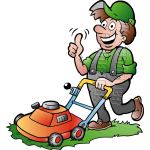 Gardener Handyman Using Push Mower