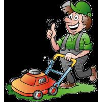 Gardener Handyman Using Push Mower