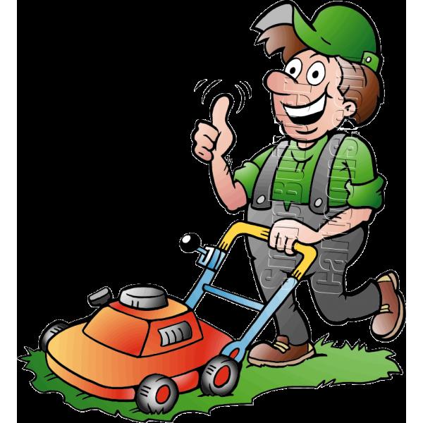 gardener handyman using push mower. Black Bedroom Furniture Sets. Home Design Ideas