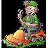 Gardener Handyman Using Riding Mower