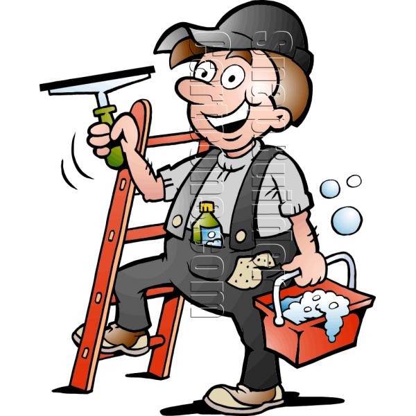 Window Cleaner Handyman with Cleaning Supplies