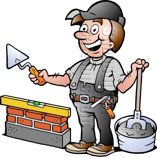 Bricklayer with Mason Tools