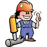 Mechanic Man with Hammer & Hard Hat