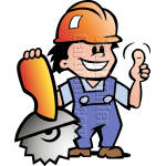 Mechanic Man with Saw & Hard Hat
