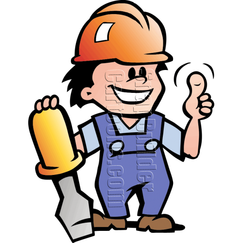 Mechanic Man with Screwdriver & Hard Hat