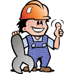 Mechanic Man with Wrench & Hard Hat