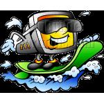 Computer Screen Riding Surf Board